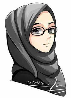 Girl Cartoon, Cute Cartoon, Cartoon Art, Muslim Girls, Muslim Women, Hijab Drawing, Image Citation, Islamic Cartoon, Hijab Cartoon