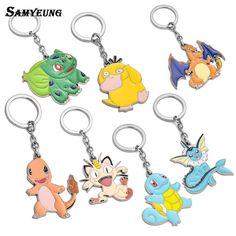 Samyeung 10/Pcs Anime Jewelry Pokemon Cute Key Chains Women Cartoon Animal Key holder Men Pokemon Keychain Porte Clef Souvenirs