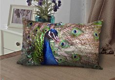 Peacock - Elegant Rectangle Velvet fabric  throw pillow by WhooplaArt, $19.99