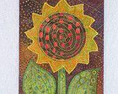 SUNFLOWER - Rustic - Fabric Postcard Art Quilt Fabric Appliqued  4 x 6 art quilt