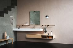 Agape crystalplant washbasin with free hanging drawer Bathroom Storage, Small Bathroom, Cloakroom Sink, Chic Bathrooms, Shelf Design, Vanity Cabinet, Home And Living, Home Furniture, Countertops