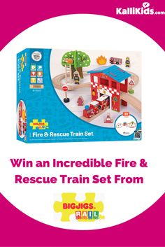 Race to the rescue with this wooden Fire Station Train Set!