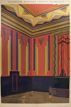 Art Deco interior wall decoration in navy blue and dark pink by Alphons Peerboom. Published in Germany by Christian Stoll, most likely in 1929. Stoll's publications were presented for the inspiration #artdeco