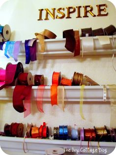 Rain gutters on walls for Ribbon storage, yes please!
