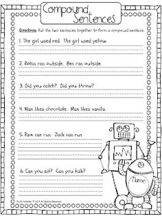 *Students who need to practice combining sentences can complete this handout by reading the two sentences separately and rewriting them as one with the appropriate combination word(s). Simple And Compound Sentences, Complex Sentences, Compound Words, Simple Sentences Worksheet, Writing Lessons, Teaching Writing, Writing Activities, Fun Activities, Teaching Ideas