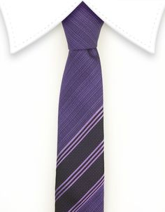 Purple Skinny Tie with Middle Stripes