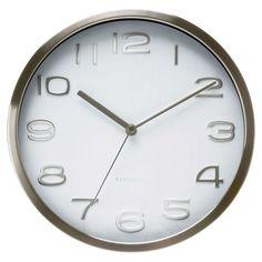 8a2f167f451 Relógio de Parede Aço Maxie Branco Relógio De Parede Cozinha