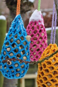 Crocheted bird feeders....easier to clean than conventional birdfeeders, presumably you could just put it in the wash