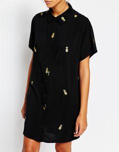 Lazy Oaf - Chemise longue oversize à manches courtes et imprimé ananas