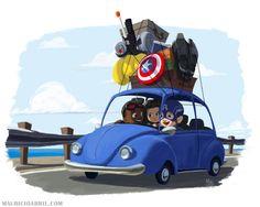 Steve Sam and Bucky go on a Roadtrip - team cap