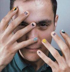 Edgy Nails, Funky Nails, Swag Nails, Graffiti Nails, Hippie Nails, Mens Nails, Natural Nail Designs, Geometric Nail, Fingers Design