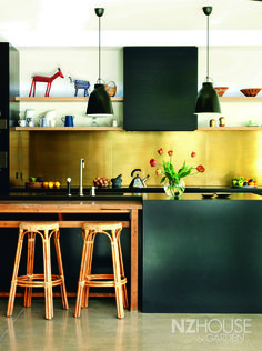 NZ House and Garden Interior of the Year -brass splashback