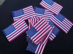 """1, 3 or 10 Screen Print Cotton 4"""" x 6.25"""" USA Flag Banner Patches Stars Stripes Patriotic Applique Americana 4th of July United States ST"""