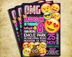 Emoji Birthday Invitation Emoji Icons Birthday por PrintableETC