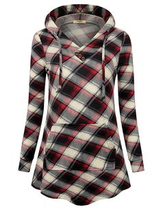 114c76b4f9a Timeson Women s Long Sleeve Shirt V Neck Pullover Plaid Lightweight Thin Sweatshirt  Hoodie With Pocket at Amazon Women s Clothing store