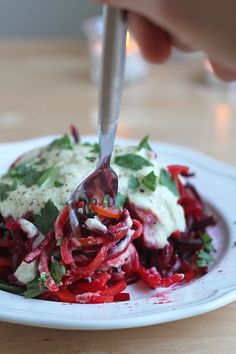 "Beet ""Pasta"" with Lemon-Creme Sauce (note the substitution for chickpeas in place of salmon.)"