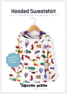 FabricWorm: Sewing Tutorial and Free PDF Pattern | Hooded Sweatshirt by The Crafty Kitty