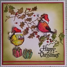 S & D Card Crafts Tim Holtz Holly die with the small Crazy birds.                                                                                                                                                                                 More