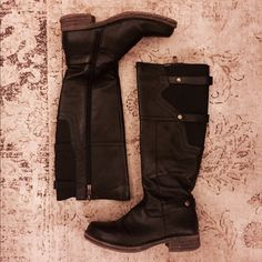 Tall black boots Side zip with stretch calf & rivet details Shoes Winter & Rain Boots