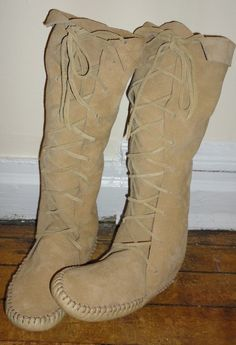 Elf Boots/handmade moccasins tan knee high suede by earthgarden, $130.00