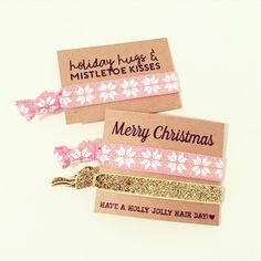 Pink Snowflake Hair Tie Set Pink Gold Glitter Christmas Hair Ties Teen... (£2.62) ❤ liked on Polyvore featuring accessories, brown, hair accessories and ties & elastics