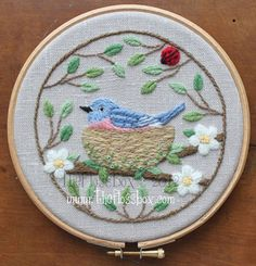 The Floss Box | Nesting Bluebird Crewel Embroidery