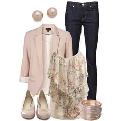 Blush Blazer by qtpiekelso on Polyvore featuring Topshop, Hudson Jeans, Juliet & Company, Arden B. and Jil Sander