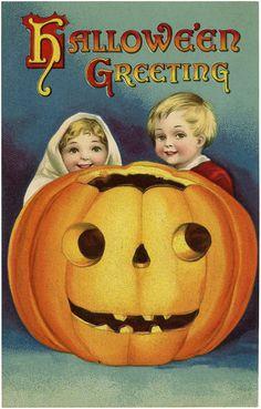 Adorable Vintage Halloween Pumpkin Kids Image! - The Graphics Fairy