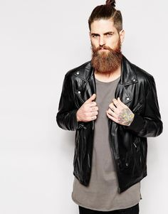 $66, Black Leather Biker Jacket: Nana Judy Biker Jacket. Sold by Asos. Click for more info: https://lookastic.com/men/shop_items/291010/redirect