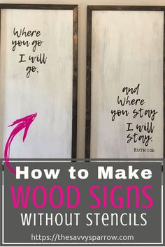Cheap and Easy DIY Farmhouse Wood Signs - A Step-by-Step DIY Tutorial! - - Want to learn how to make easy DIY farmhouse wood signs? Get my tutorial and learn the cheapest and easiest way to make farmhouse signs without stencils! Wood Projects For Beginners, Diy Wood Projects, Diy Projects To Try, Project Ideas, Craft Ideas, Decorating Ideas, Decor Ideas, Diy Wood Signs, Rustic Wood Signs