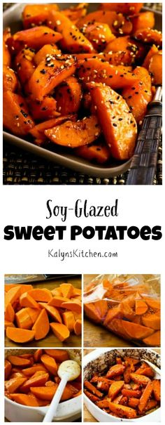 It's sweet potatoes season, and these delicious Soy-Glazed Sweet Potatoes with Sesame Seeds are a nice change from the too-sweet sweet potatoes that show up this time of year! (Vegan, Gluten-Free) [from KalynsKitchen.com]:
