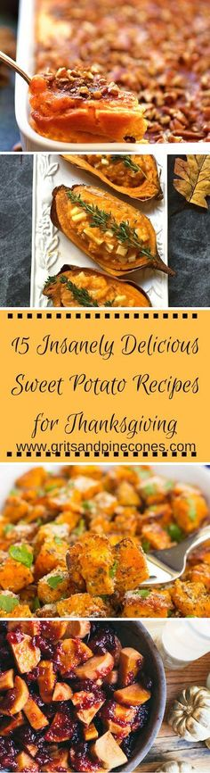 Whether you are looking for a  traditional sweet potato recipe for Thanksgiving or want a new twist on an old classic, try one of these amazing recipes and sit back and enjoy the compliments! http://www.gritsandpinecones.com