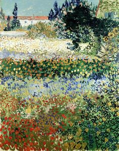 Art of the Day: Van Gogh, Flowering Garden, July 1888. Oil on canvas, 92 x 73 cm. Private collection.