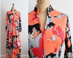 On Sale 60s Keram Floral maxi Dress / Printed Maxi Dress / 1960s Dress / Size S/M