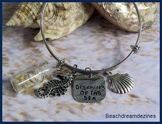 Beach Bangle Bracelet Dreaming of the by BeachDreamDezines on Etsy