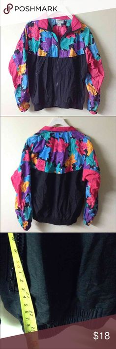Vtg nylon windbreaker floral small bomber jacket Excellent condition Vintage Jackets & Coats Utility Jackets