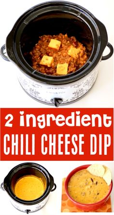 Crockpot Chili Cheese Dip Easy Recipe - Best Appetizer! {Just 2 Ingredients}  This hot chip dip is perfect for parties, game day, or Netflix binge watching nights!  Go grab the recipe and give it a try! Dip Recipes, Gourmet Recipes, Crockpot Recipes, Best Appetizers, Appetizer Recipes, Christmas Appetizers, Christmas Desserts, Dinner Recipes, Chili Cheese Dips