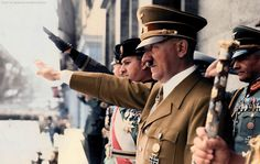 Adolf Hitler, Along with Mussolini's son-in-law, Count Galeazzo Ciano (to Hitler's right), and Joachim von Ribbentrop