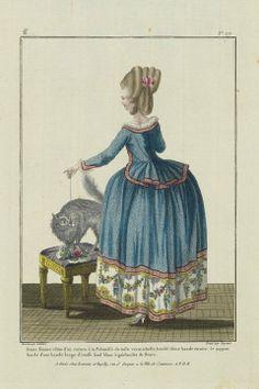 French, 1780 Designed by Pierre-Thomas LeClerc. Jeune femme vêtue d'un caraco à la Polonoise de toile vermichelle, bordé d'une bande étroite: le juppon bordé d'une bande large d'etoffe fond blanc à guirlandes de fleurs.