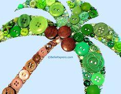 Botones botón arte palmera y Swarovski Flatback por BellePapiers