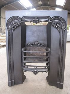 Vintage Cast Iron Fireplace Surround w/ Embossed Vine Design ...