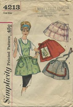 Vintage Apron Sewing Pattern   Simplicity 4213   Year 196?   One Size
