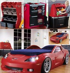 Car Bed Set! our kid is definitely gonna have stuff like this in his room this is so cool.