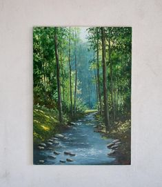 Forest Stream Landscape Oil painting Original Artwork On Canvas Green Trees Wood Creek Riwer Summer Nature Clear Water Realism Art 28 x 20 Green Paintings, Amazing Paintings, Landscape Paintings, Original Paintings, Original Artwork, Oil Paintings, Indian Paintings, Abstract Landscape, Large Painting