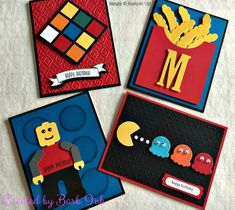 Inspired Cards - Created by Barb Ink - Stampin' Up! Lego Birthday Cards, Birthday Cards For Boys, Masculine Birthday Cards, Handmade Birthday Cards, Birthday Greeting Cards, Birthday Boys, Masculine Cards, Boy Cards, Kids Cards
