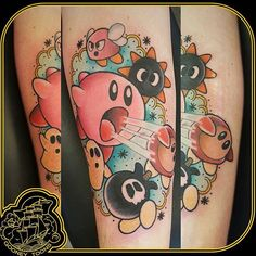 """Kirby tattoo by @gooneytoons_str  #kirby #kirbytattoo #nintendo #videogametattoo  Thanks @gooneytoons_str =D"""