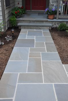 Awesome Bluestone Pavers For Pathway In Patio Design Ideas: Charming Walkways In Front Entry With Bluestone Pavers And Stone Steps Plus Ground Also Red Door For Patio Design