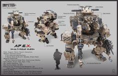A.P.E.X. Multi-Role Mech, John F Valera on ArtStation at https://www.artstation.com/artwork/a-p-e-x-multi-role-mech