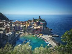 Looking back - Vernazza in the Cinque Terre park in Italy -
