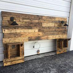 Cabecero rústico estándar cabecero de madera cabecero de
